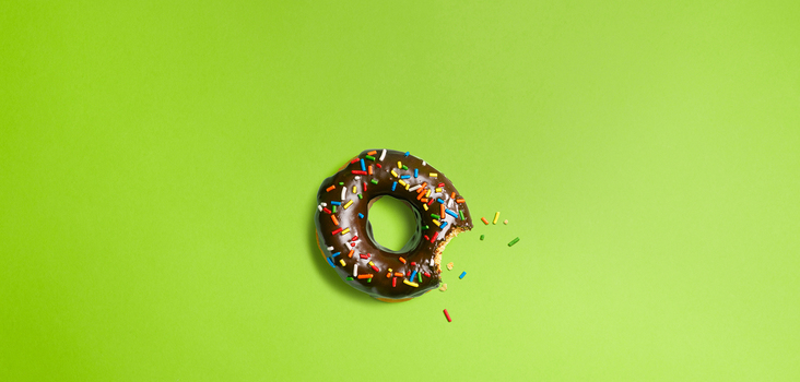 Big backgrounds chocolate donut on a green background 106664