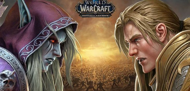 Big world of warcraft battle for azeroth sylvanas v. anduin key art header 1